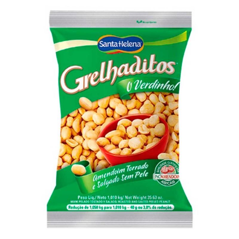 Amendoim Torrado Salgado • Sem Pele • 1Kg • Santa Helena