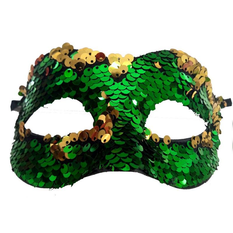 Máscara Lantejoulas • Verde e Amarelo • Carnaval