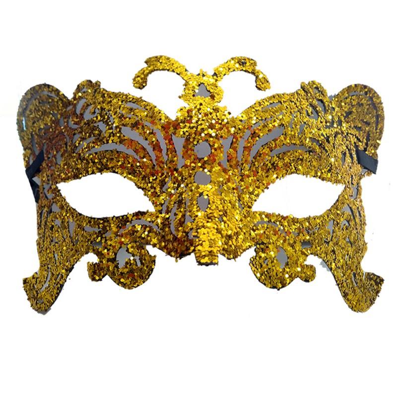 Máscara - Dourada • Gliter • Carnaval