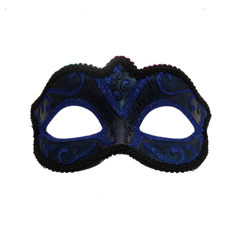 Máscara Veneziana • Azul Escuro Luxo • Carnaval