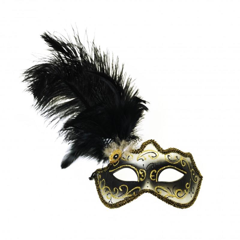 Máscara Luxo Preta e Ouro • Veneza • Carnaval