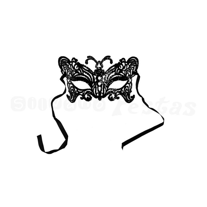 Máscara - Preta • Gliter • Carnaval