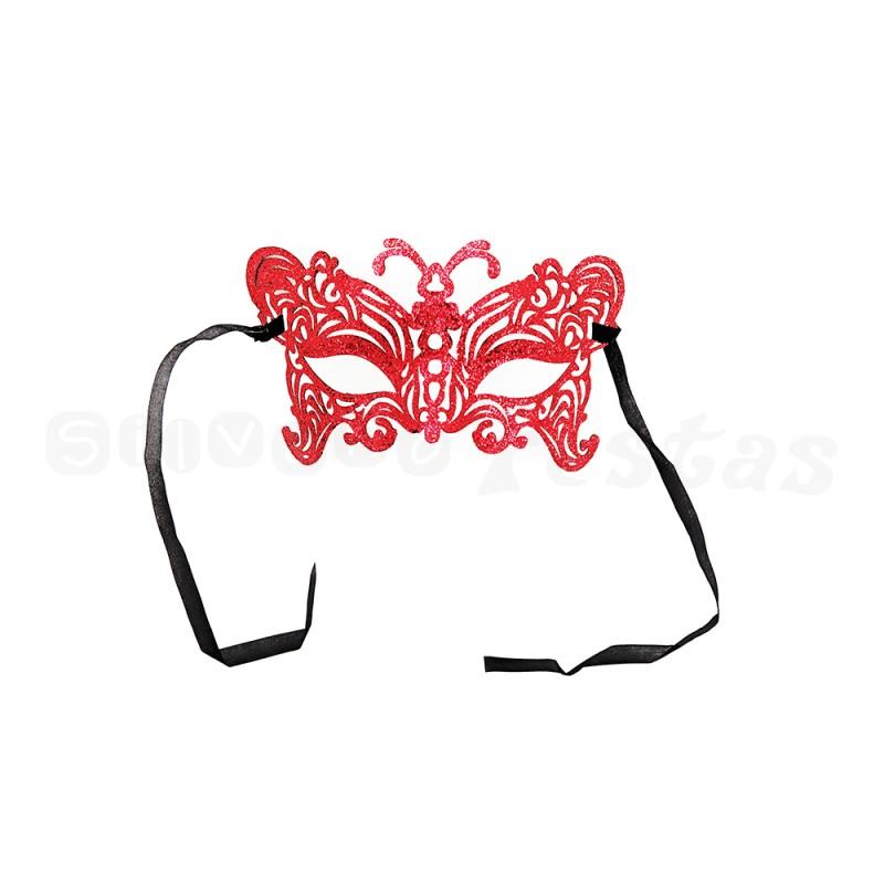 Máscara - Vermelha • Gliter • Carnaval
