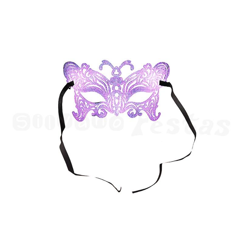 Máscara - Roxa • Gliter • Carnaval