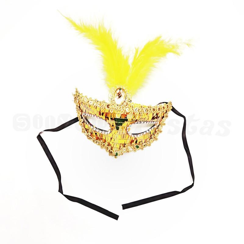 Máscara Luxo • Dourada • Carnaval