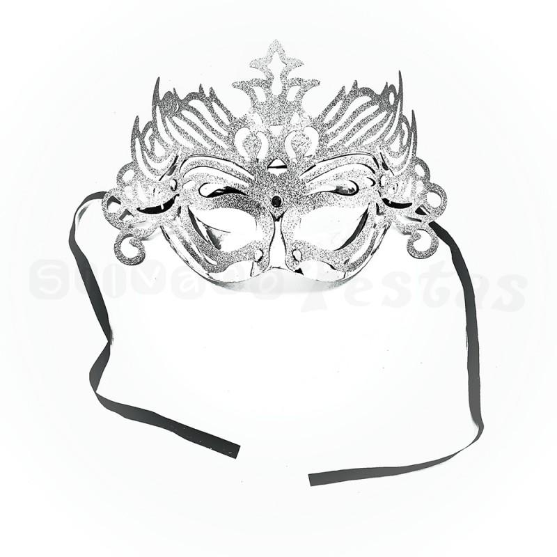 Máscara Glitter • Prata • Carnaval