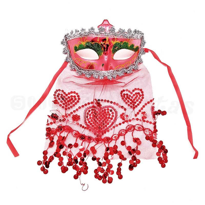 Máscara Odalisca • Vermelha • Carnaval
