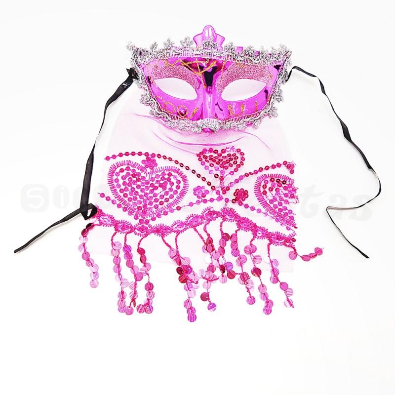 Máscara Odalisca • Rosa • Carnaval