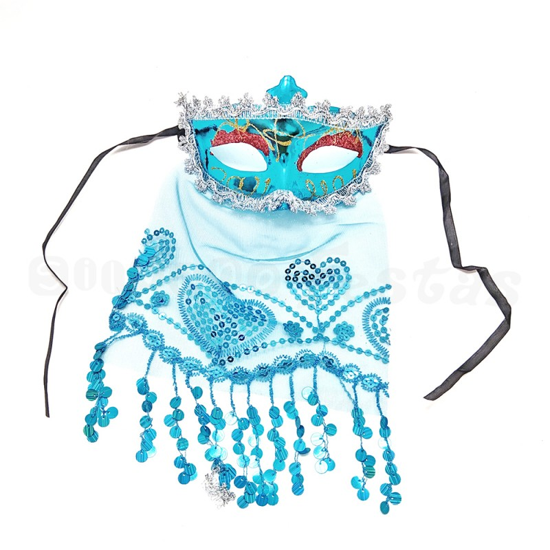 Máscara Odalisca • Azul • Carnaval