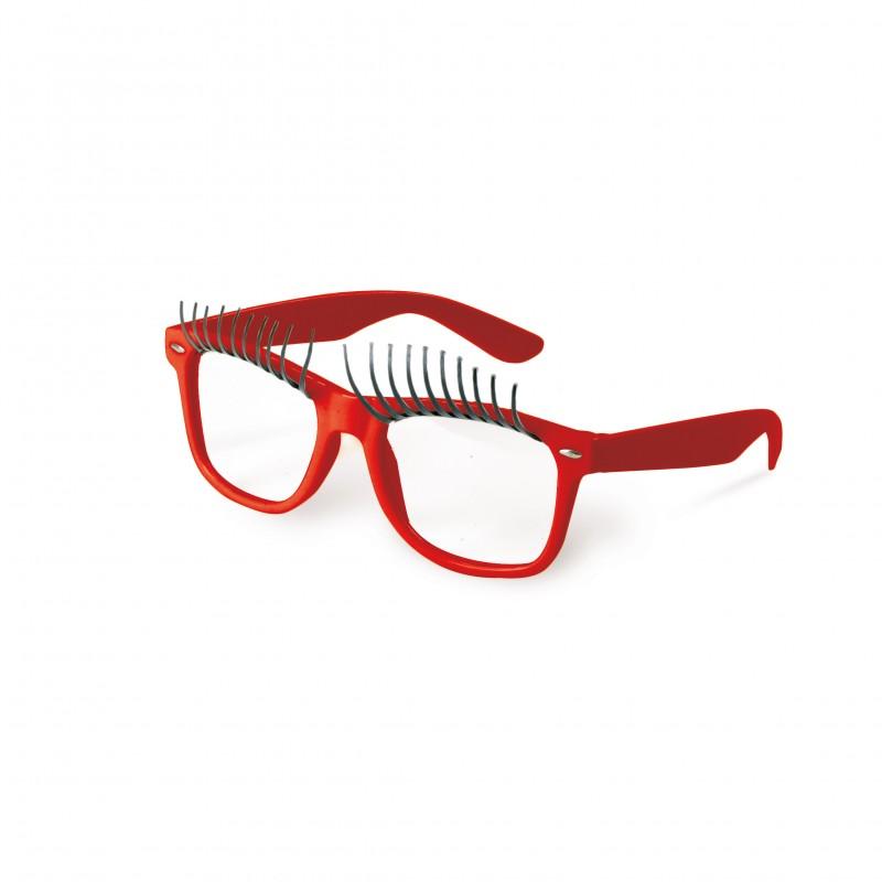 Óculos Vermelho com Cílios