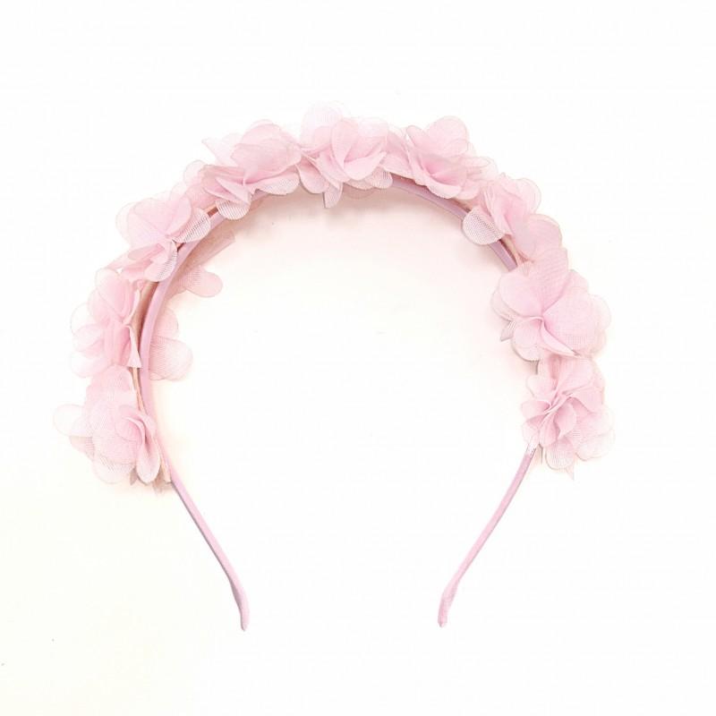 Tiara Flores Tecido Rosa • Carnaval