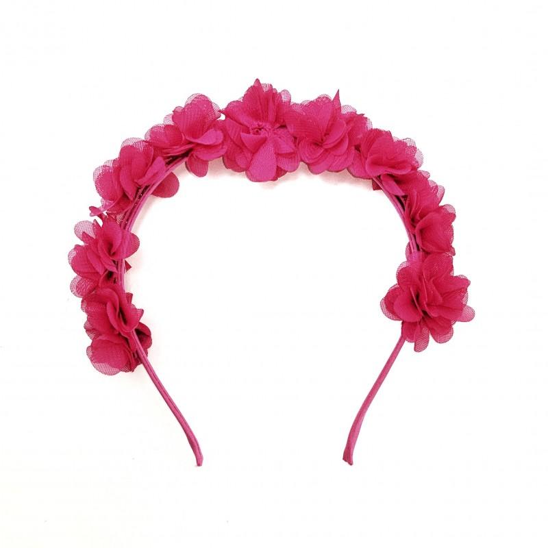 Tiara Flores Tecido Pink • Carnaval