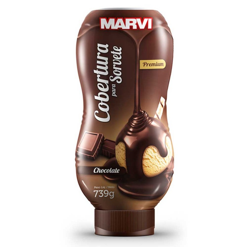 Cobertura para Sorvete • Chocolate • 739g • Marvi