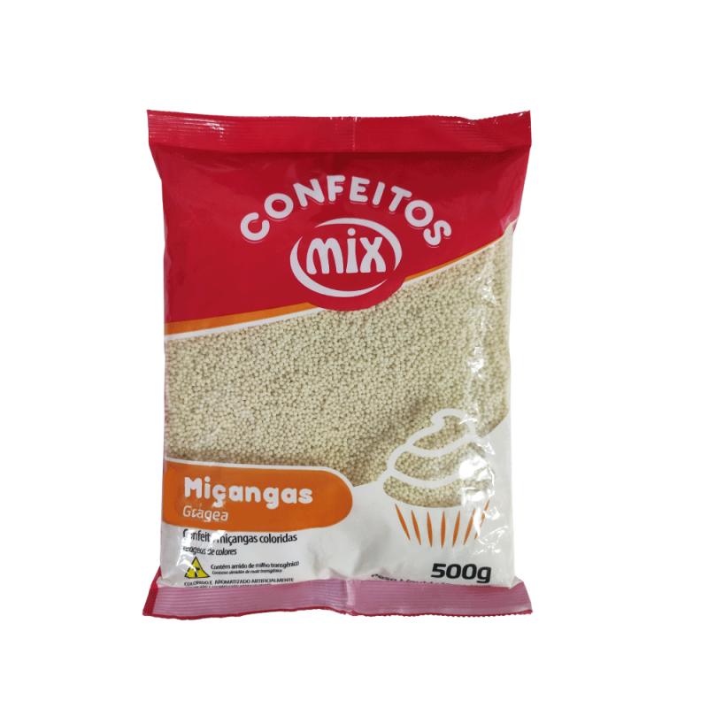 Confeito Miçanga branca 500g - Mix