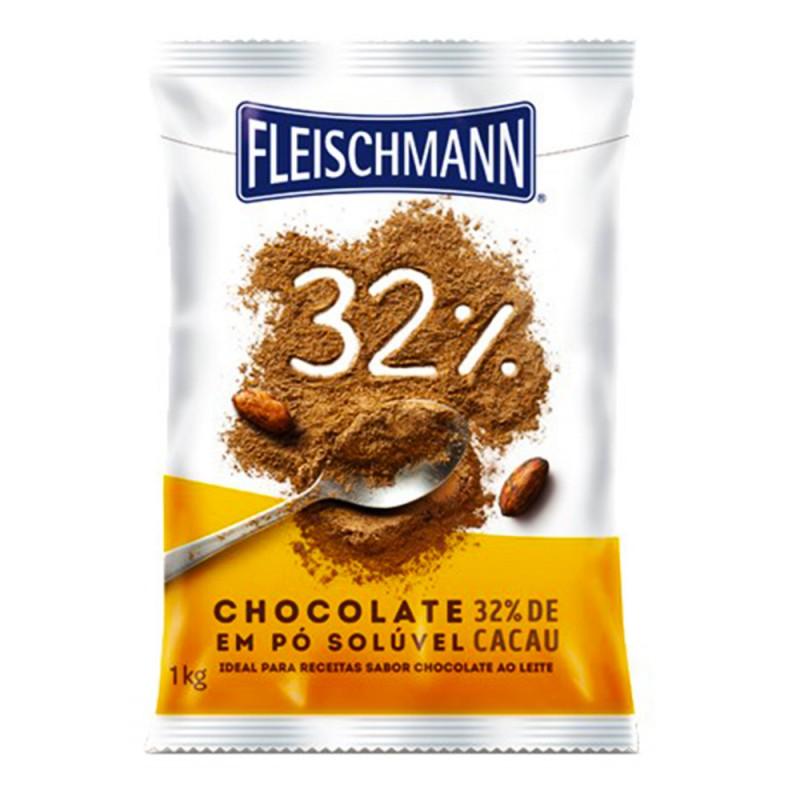 Chocolate em Pó Solúvel • 32% Cacau • 1kg • Fleischmann