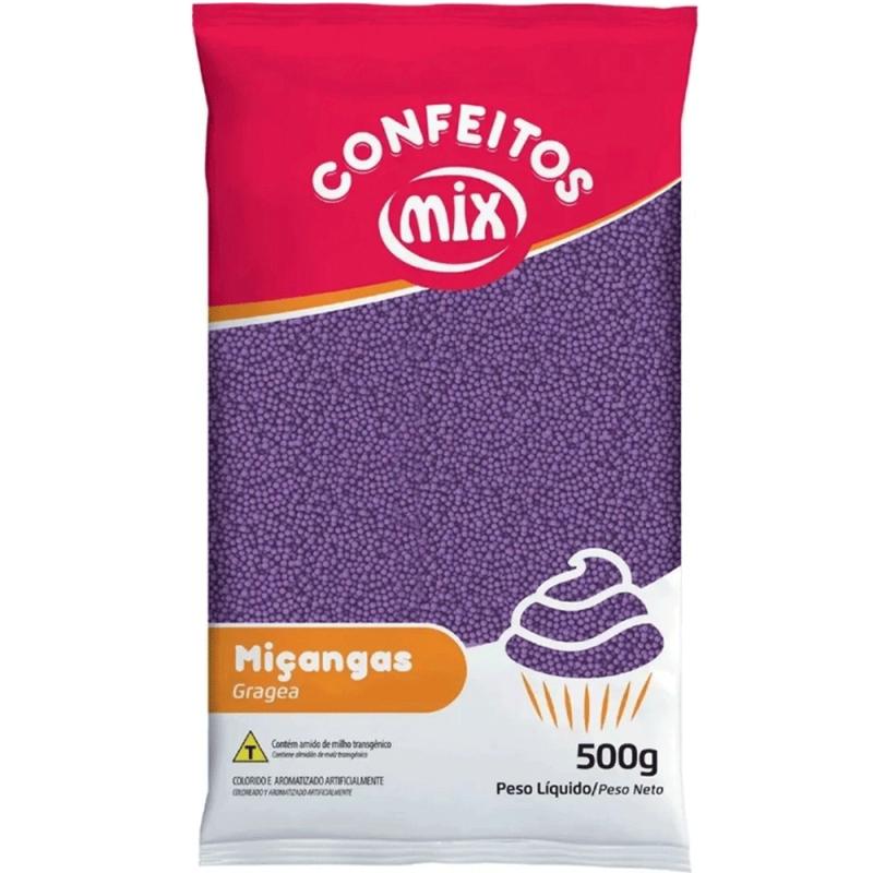 Confeito Miçanga Roxa 500g - Mix