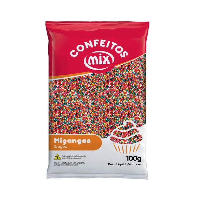 Confeito Miçanga 8 Cores 100g - Mix
