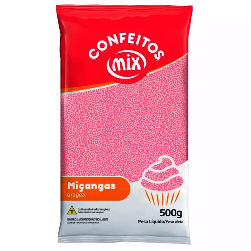 Confeito Miçanga Rosa  500g - Mix