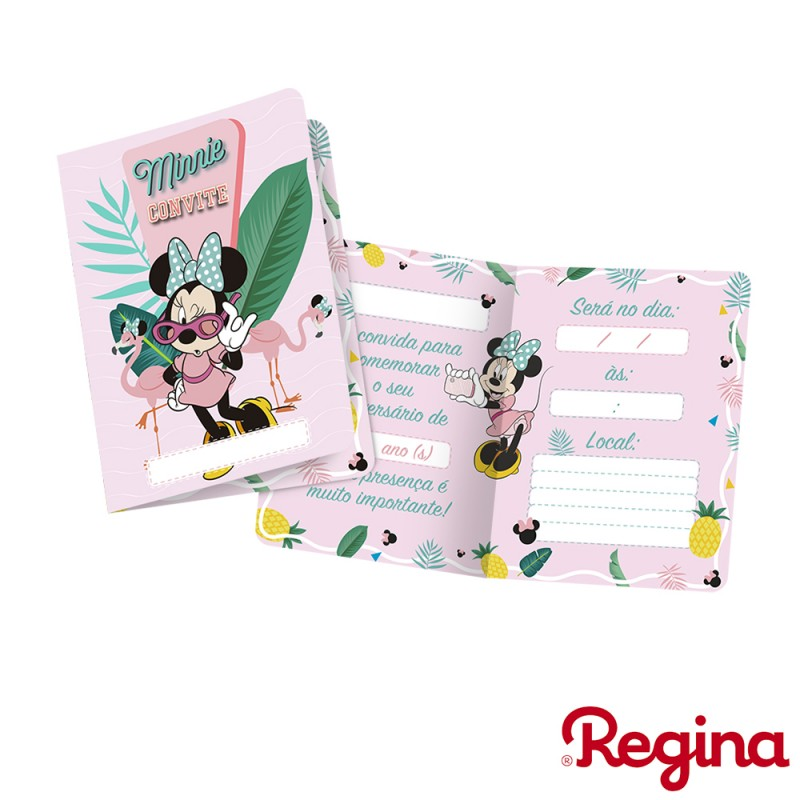 Convite • Minnie Flamingo • 8un • Regina