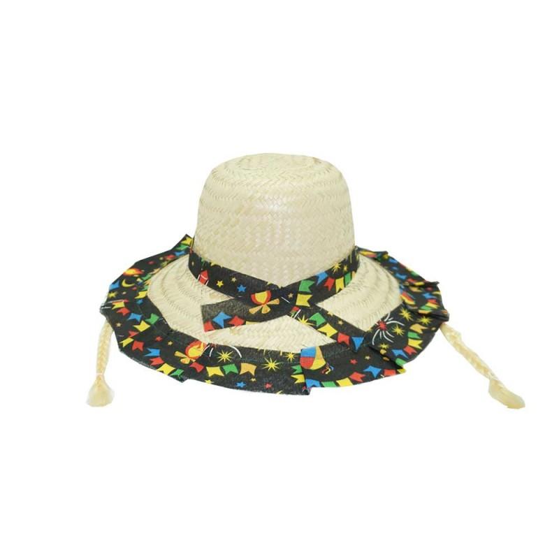 Chapéu de Palha • Festa Junina • Estampado com Trança • Kopal