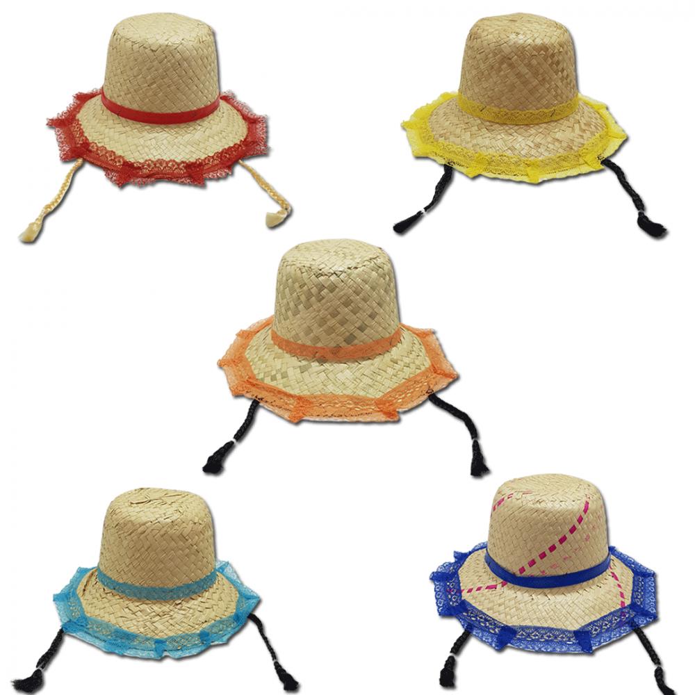 Chapéu de Palha • C/ Trança • 1Un • 5 Cores