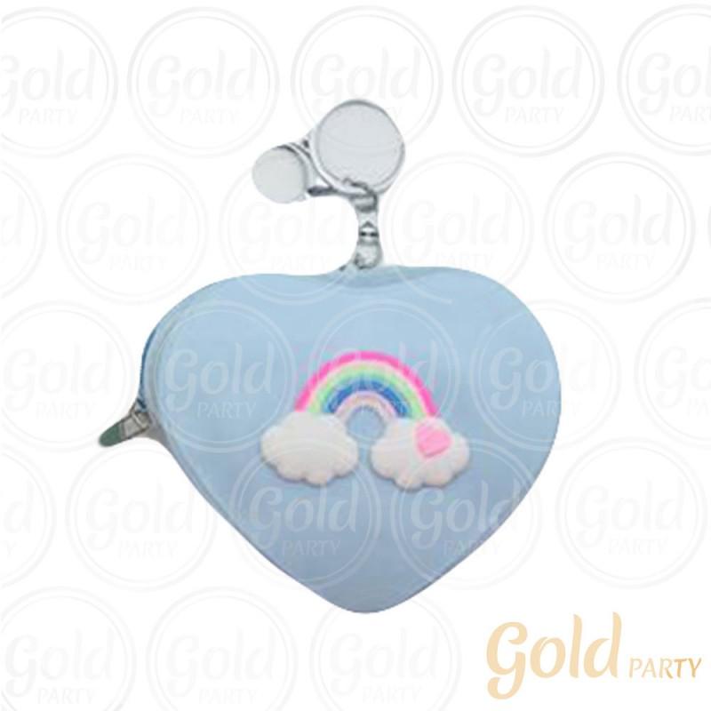 Chaveiro Silicone • Bolsinha Coração Nuvem • Azul Bebê • 1un.• Gold Party