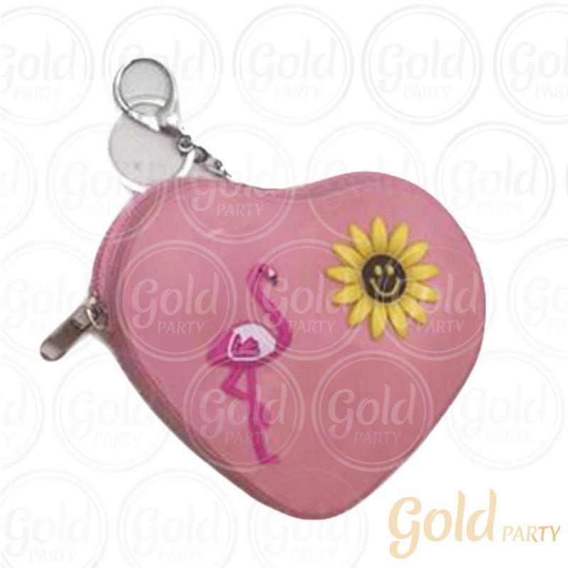 Chaveiro Silicone • Bolsinha Coração Flamingo • Rosa • 1un.• Gold Party