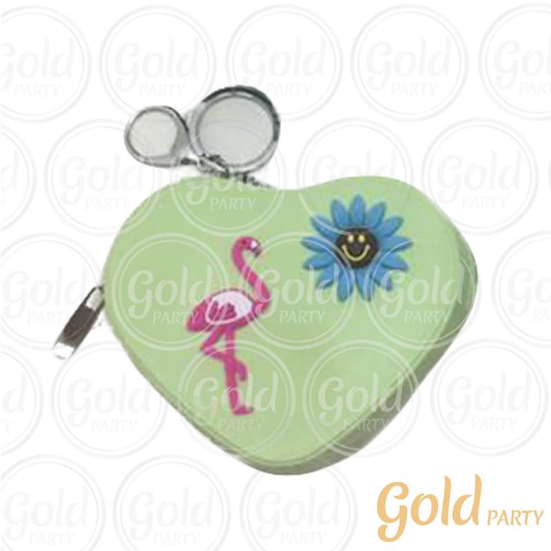 Chaveiro Silicone • Bolsinha Coração Flamingo • Verde • 1un.• Gold Party