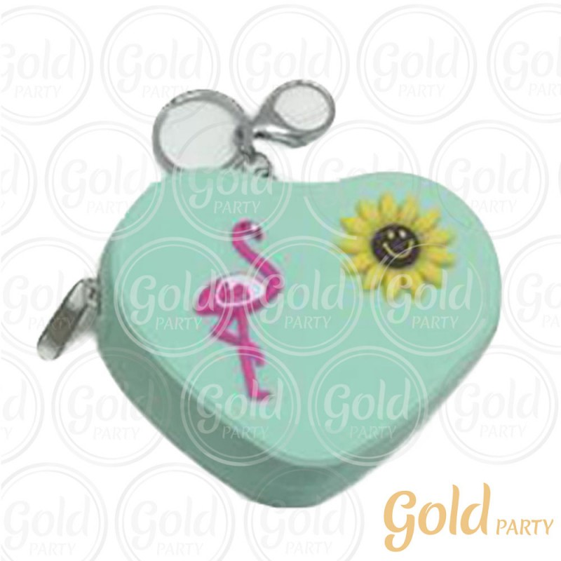 Chaveiro Silicone • Bolsinha Coração Flamingo • Verde Água • 1un.• Gold Party