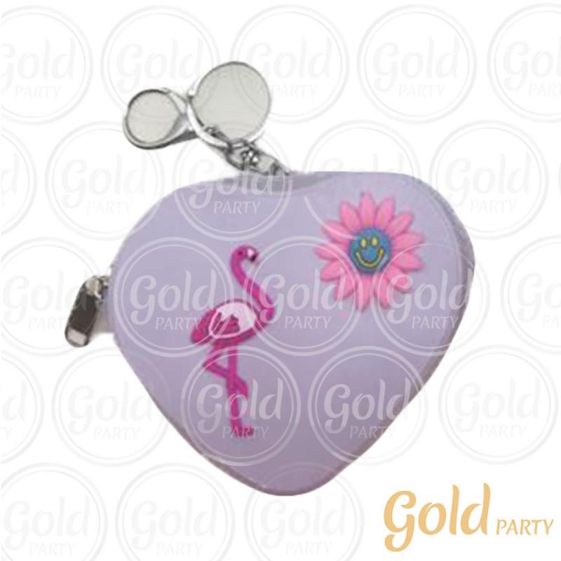 Chaveiro Silicone • Bolsinha Coração Flamingo • Lilás • 1un.• Gold Party