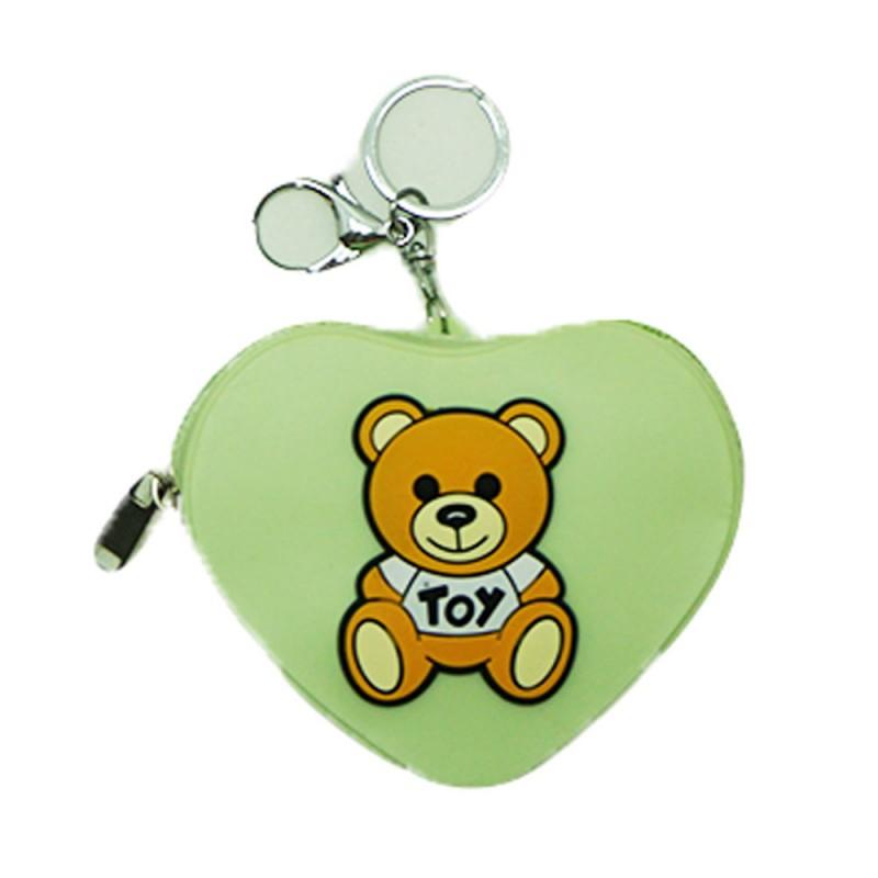 Chaveiro Silicone • Bolsinha Coração Urso • Verde Claro • 1un.• Gold Party