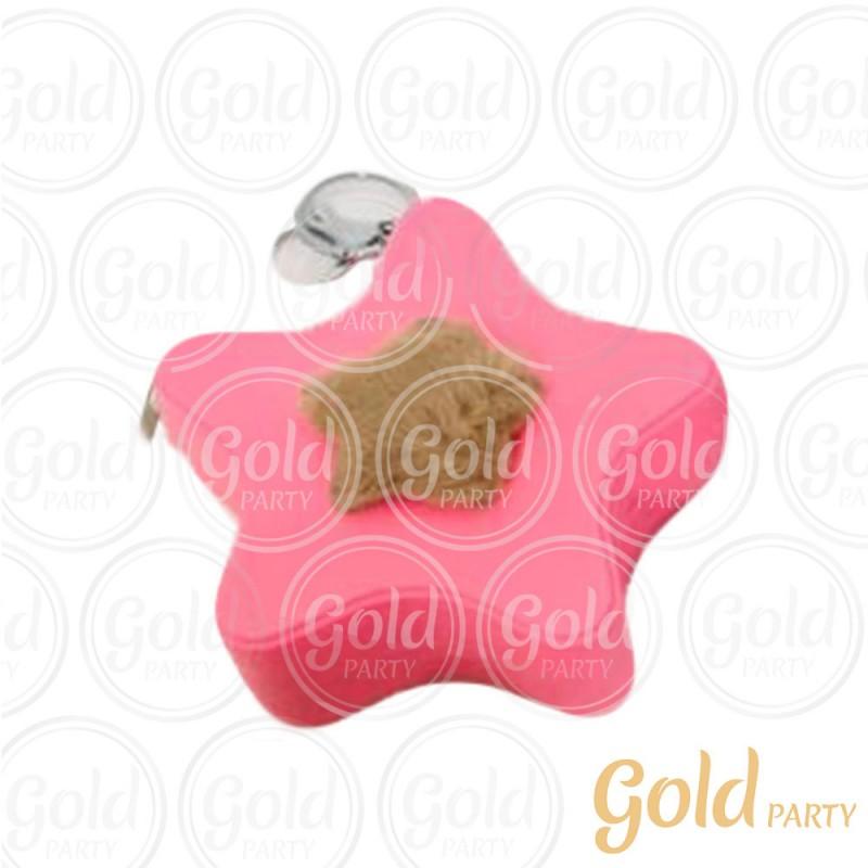Chaveiro Silicone • Bolsinha Estrela • Rosa • 1un.• Gold Party