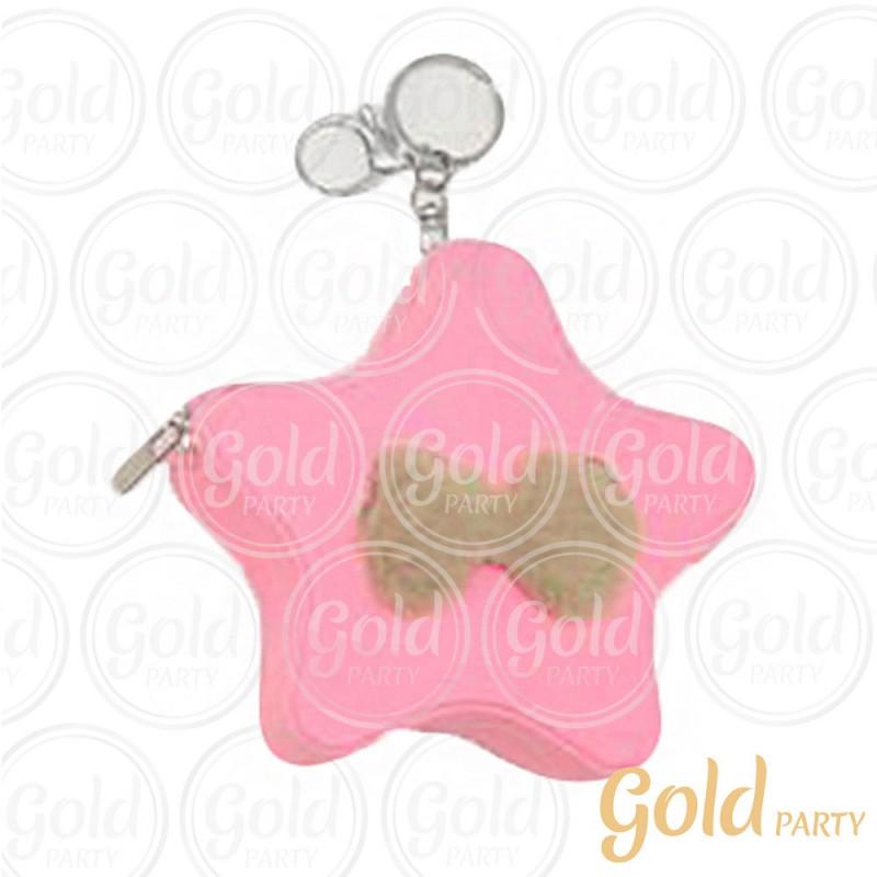 Chaveiro Silicone • Bolsinha Estrela Laços • Rosa • 1un.• Gold Party