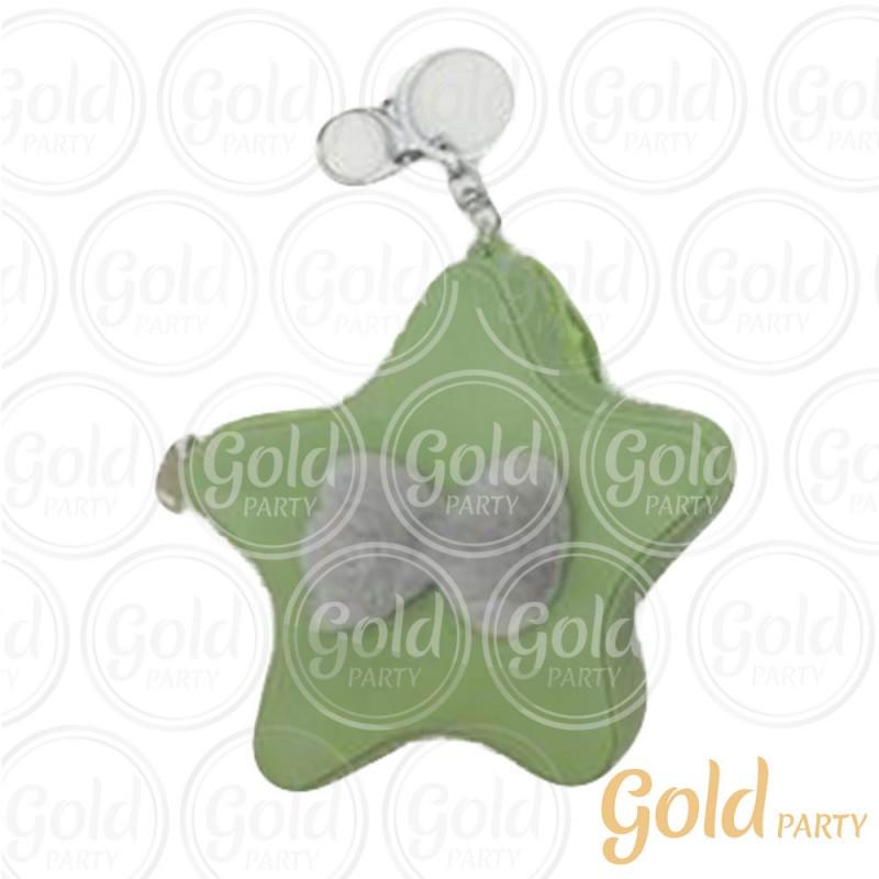 Chaveiro Silicone • Bolsinha Estrela Laços • Verde • 1un.• Gold Party