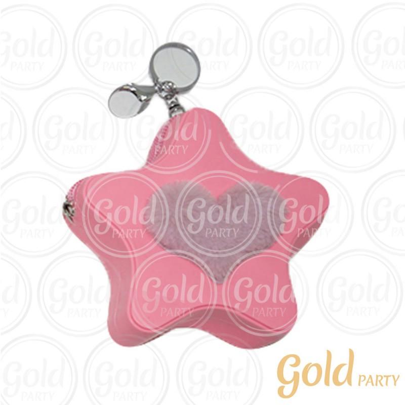 Chaveiro Silicone • Bolsinha Estrela Coração • Rosa • 1un.• Gold Party