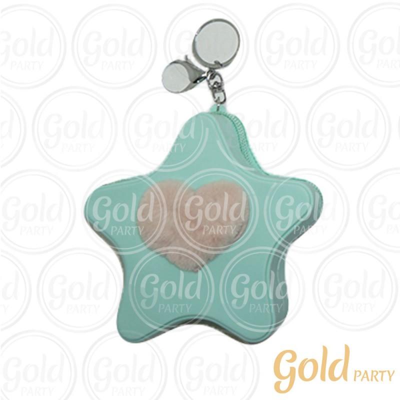 Chaveiro Silicone • Bolsinha Estrela Coração • Verde Água • 1un.• Gold Party