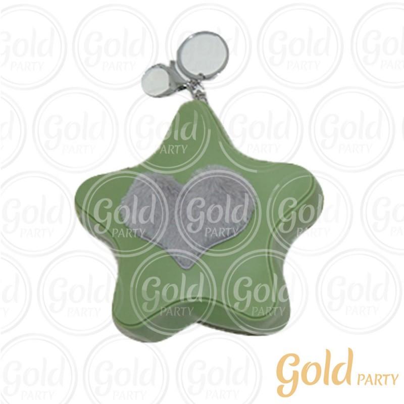 Chaveiro Silicone • Bolsinha Estrela Coração • Verde • 1un.• Gold Party