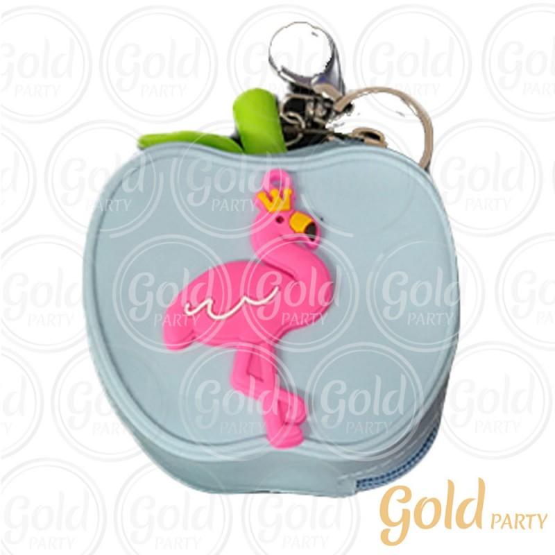 Chaveiro Silicone • Bolsinha Maçã Flamingo • Azul Bebê • 1un.• Gold Party
