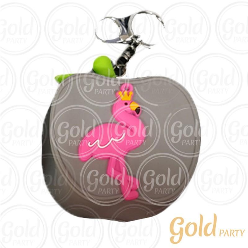 Chaveiro Silicone • Bolsinha Maçã Flamingo • Cinza • 1un.• Gold Party