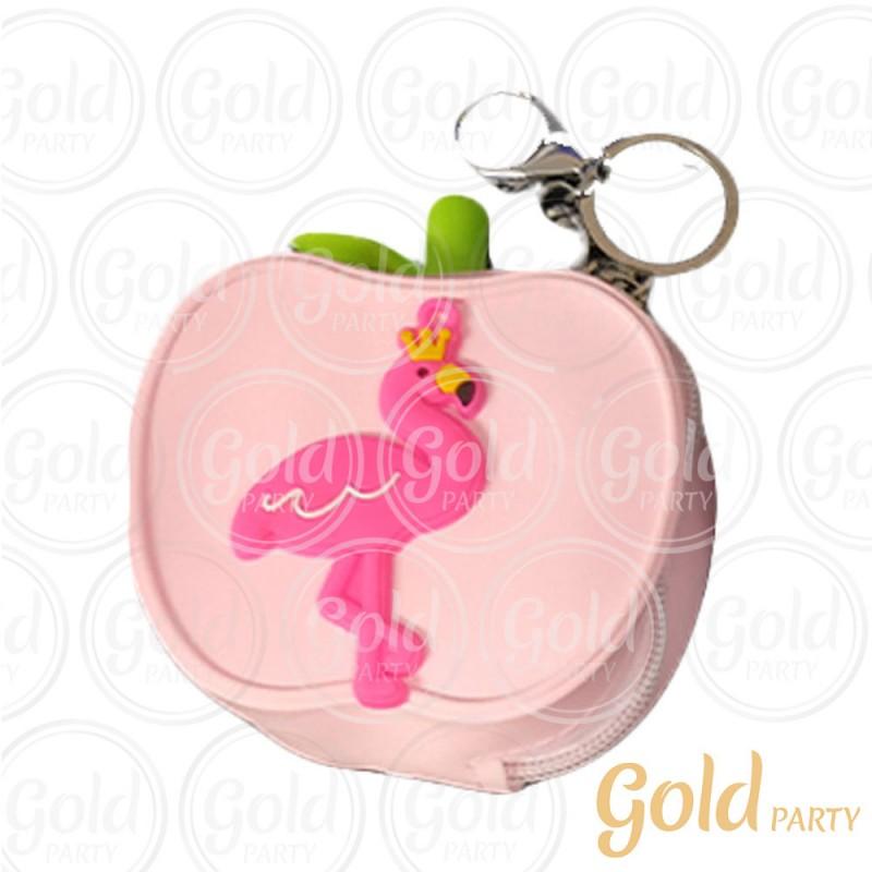 Chaveiro Silicone • Bolsinha Maçã Flamingo • Rosa • 1un.• Gold Party