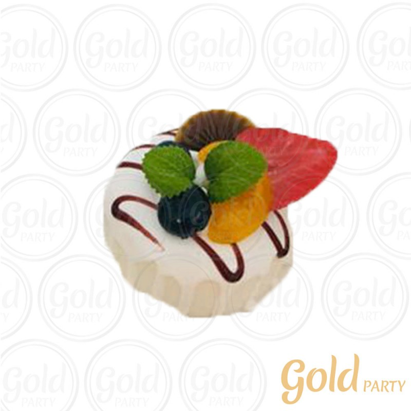 Imã • Bolo Muffin Chocolate Branco • Redondo • 1un.• REF:PA1004 • Gold Party