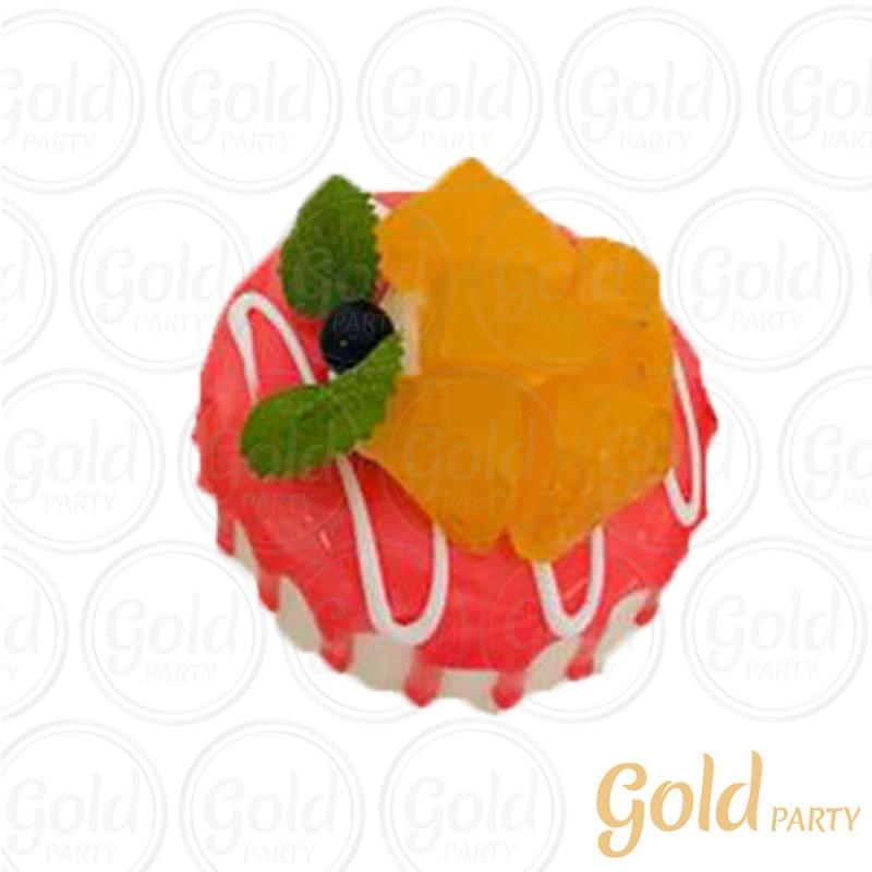Imã • Bolo Muffin Morango • Redondo • 1un.• REF:PA1004 • Gold Party