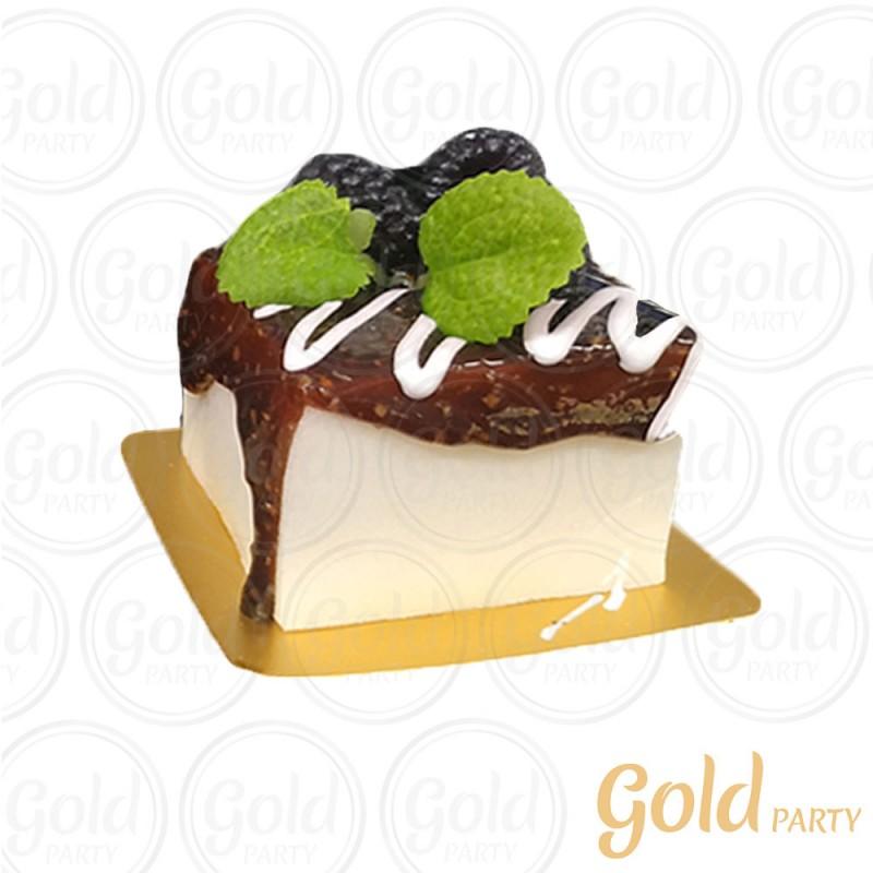 Imã • Mini Bolo Chocolate • Quadrado • 1un.• REF:PA1003 • Gold Party