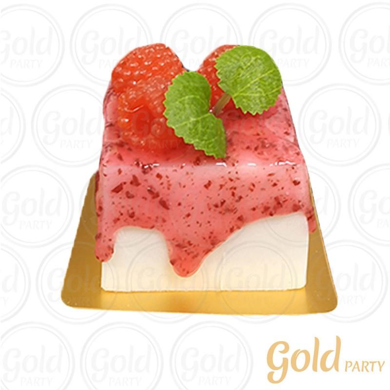 Imã • Mini Bolo Framboesa • Quadrado • 1un.• REF:PA1003 • Gold Party