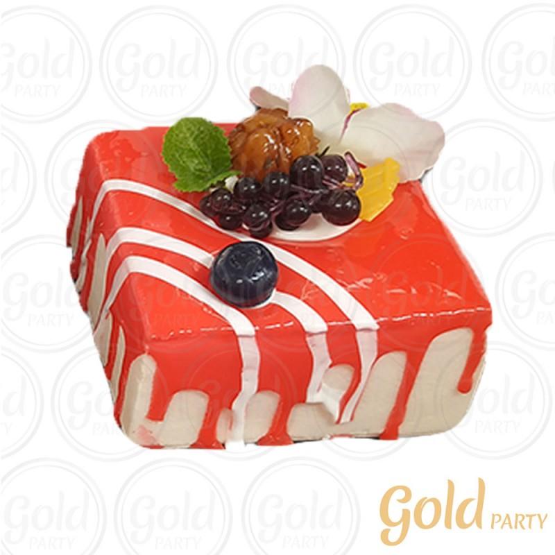 Imã • Doce de Frutas Morango • Quadrado • 1un.• REF:PA1021 • Gold Party
