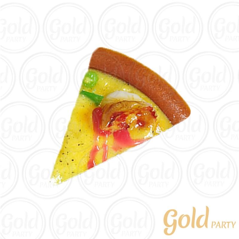 Imã • Fatia de Pizza • Camarão • 1un.• REF: PA1015 • Gold Party