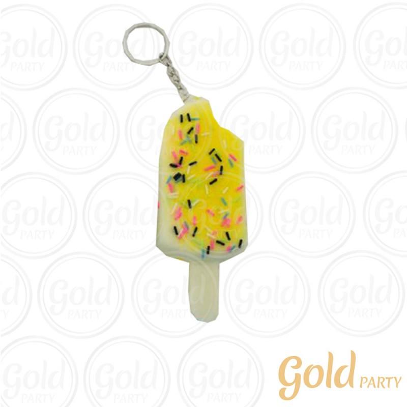 Chaveiro Silicone • Sorvete Squish • Amarelo • 1un.• Gold Party