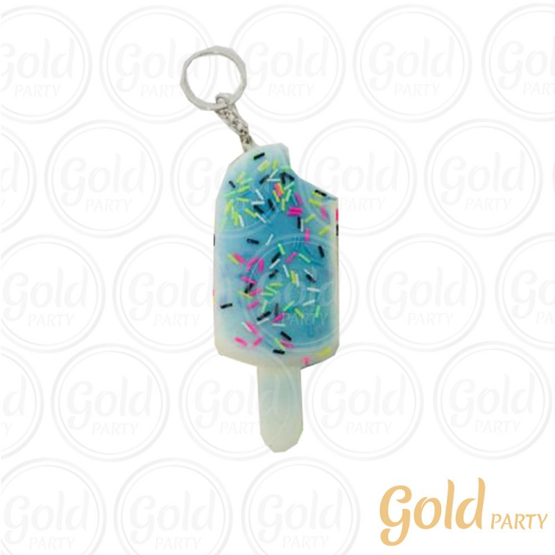 Chaveiro Silicone • Sorvete Squish • Azul • 1un.• Gold Party