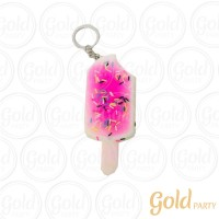 Chaveiro Silicone • Sorvete Squish • Rosa • 1un.• Gold Party