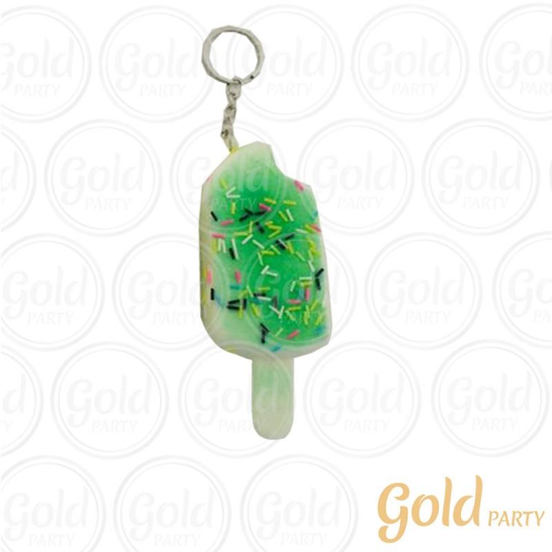 Chaveiro Silicone • Sorvete Squish • Verde • 1un.• Gold Party